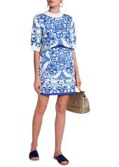 Dolce & Gabbana Woman Printed Cotton-blend Jacquard Top Blue