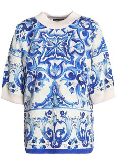 Dolce & Gabbana Woman Printed Cotton-blend Jacquard Top Blue