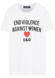 Dolce & Gabbana Woman Printed Cotton-jersey T-shirt White