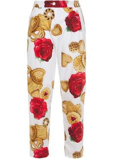 Dolce & Gabbana Woman Printed Cotton-poplin Straight-leg Pants White