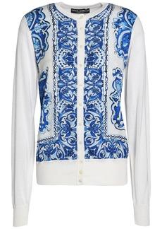 Dolce & Gabbana Woman Printed Crepe De Chine-paneled Silk Cardigan Blue