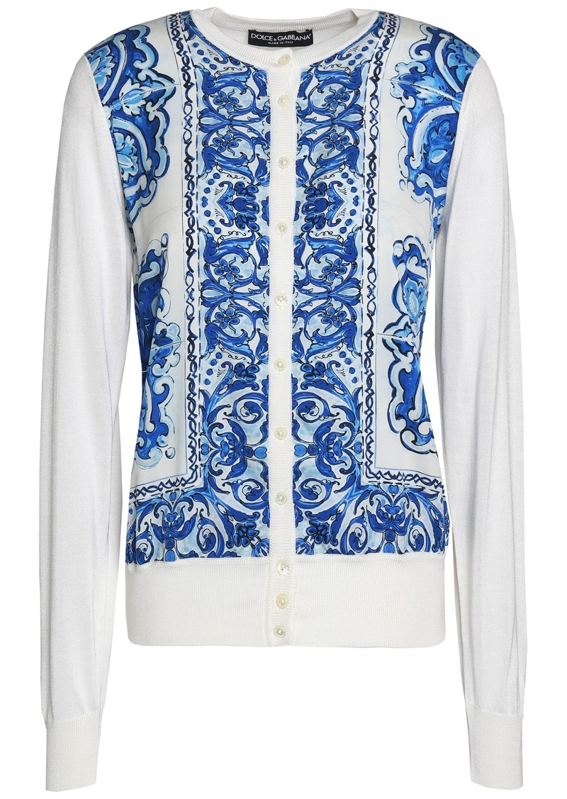 Dolce & Gabbana Woman Printed Crepe De Chine-paneled Silk Cardigan Blue