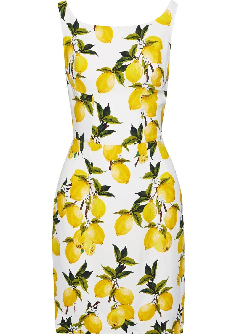 Dolce & Gabbana Woman Printed Crepe Mini Dress Yellow
