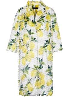 Dolce & Gabbana Woman Printed Fil Coupé Silk-blend Coat Yellow