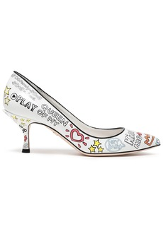 Dolce & Gabbana Woman Printed Leather Pumps White