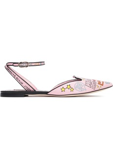 Dolce & Gabbana Woman Printed Leather Slingback Point-toe Flats Baby Pink