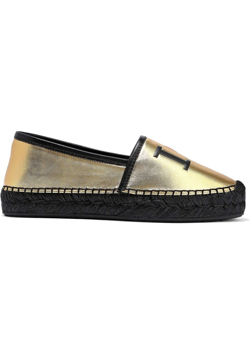 Dolce & Gabbana Woman Printed Metallic Leather Espadrilles Gold