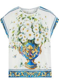 Dolce & Gabbana Woman Printed Silk-blend Crepe De Chine Blouse Ivory