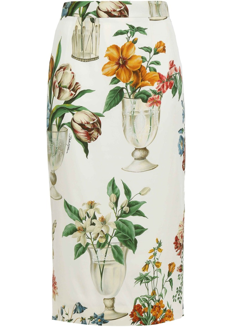 Dolce & Gabbana Woman Printed Silk-blend Crepe De Chine Pencil Skirt Ivory