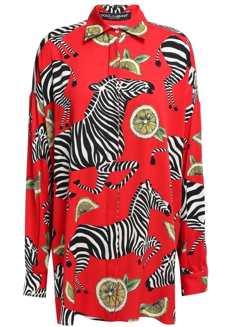 Dolce & Gabbana Woman Printed Silk-blend Crepe De Chine Shirt Red
