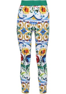 Dolce & Gabbana Woman Printed Silk-blend Leggings White