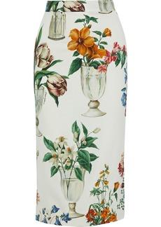 Dolce & Gabbana Woman Printed Silk-blend Pencil Skirt Off-white