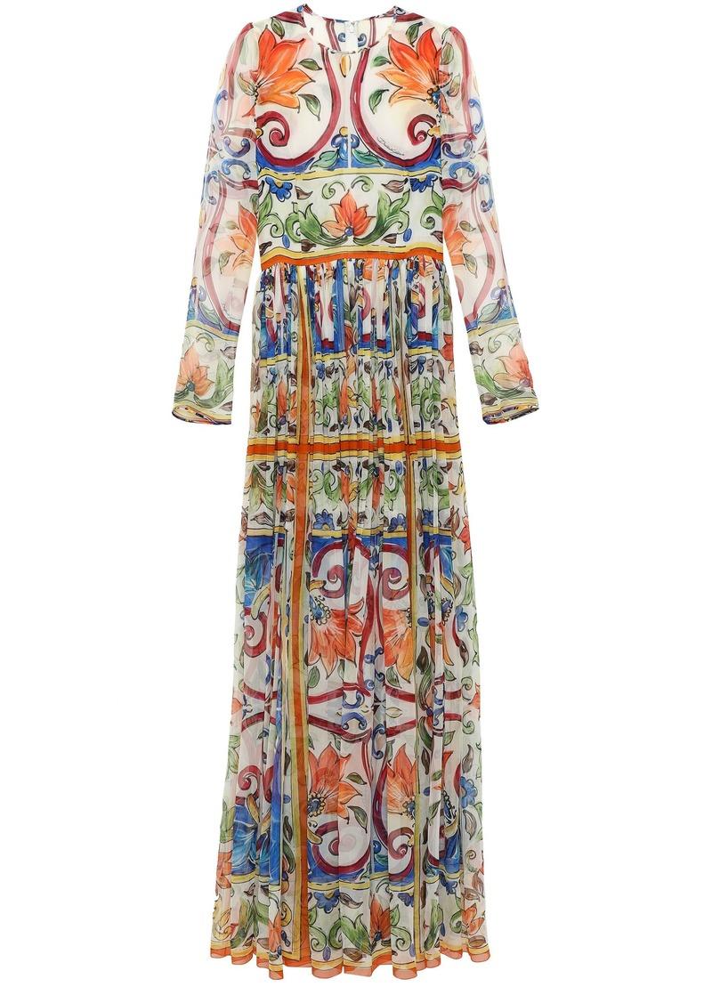 Dolce & Gabbana Woman Printed Silk-chiffon Gown Ivory