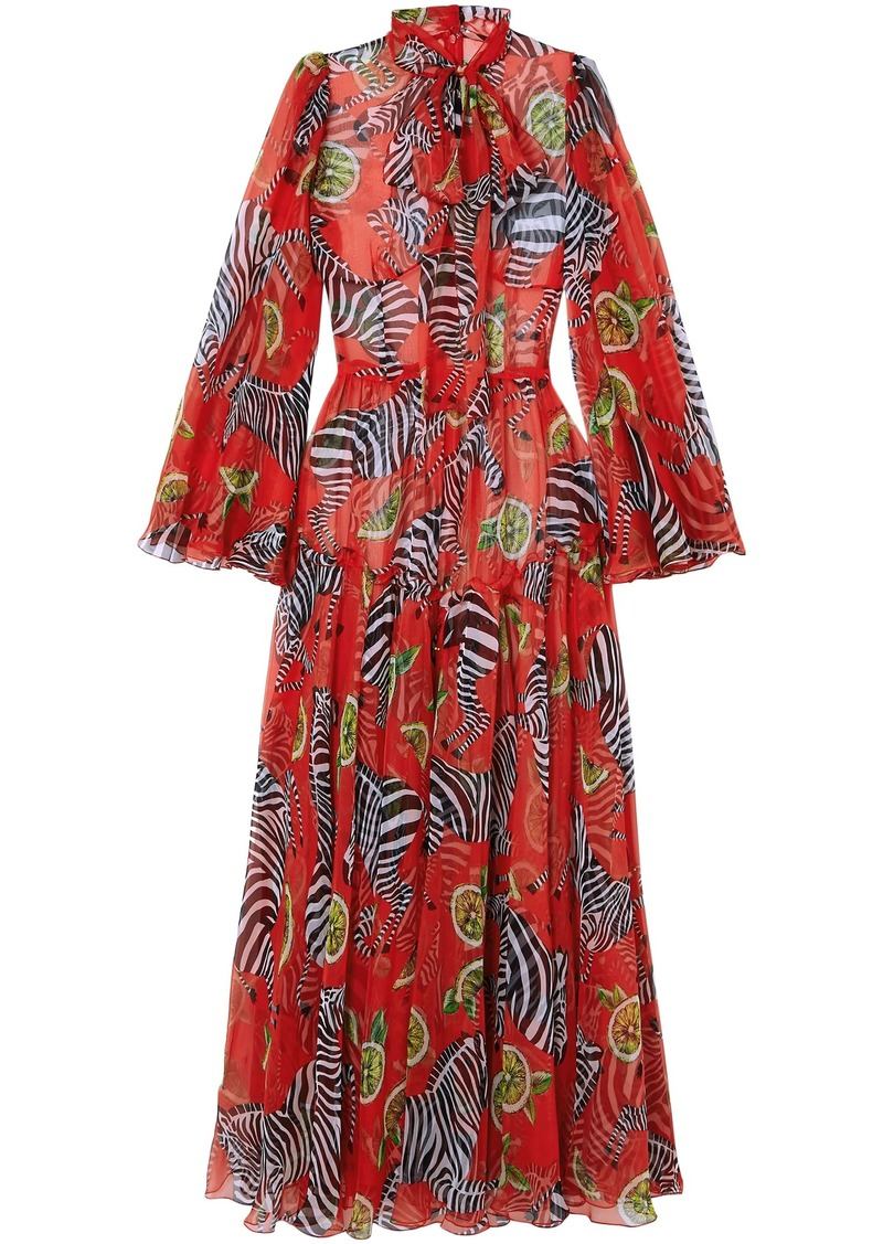 Dolce & Gabbana Woman Printed Silk-chiffon Wide-leg Jumpsuit Red