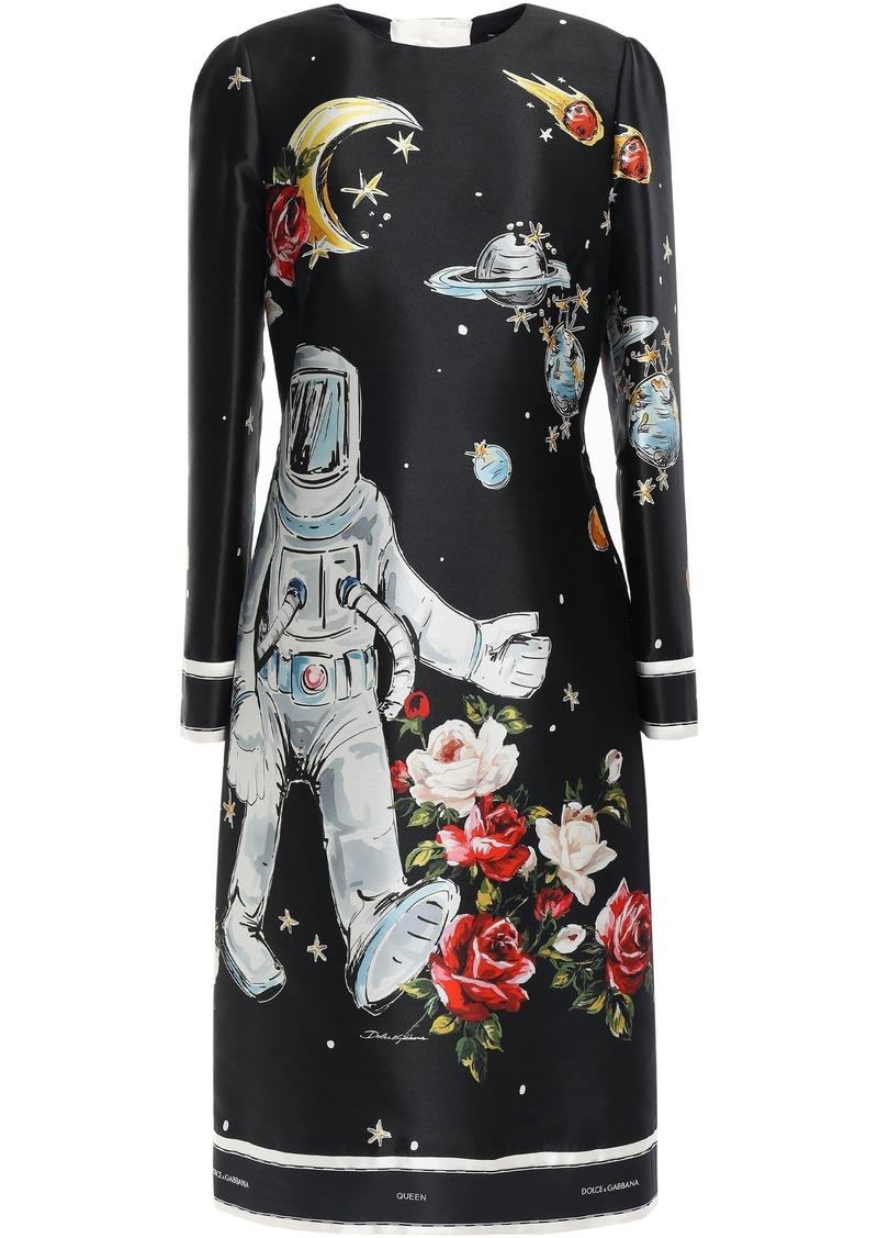 Dolce & Gabbana Woman Printed Silk-faille Dress Black