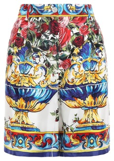 Dolce & Gabbana Woman Printed Silk-faille Shorts White
