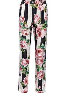 Dolce & Gabbana Woman Printed Silk-faille Straight-leg Pants White