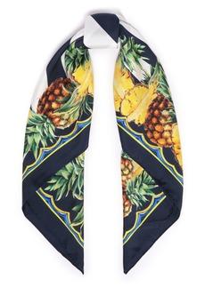 Dolce & Gabbana Woman Printed Silk-twill Scarf Navy