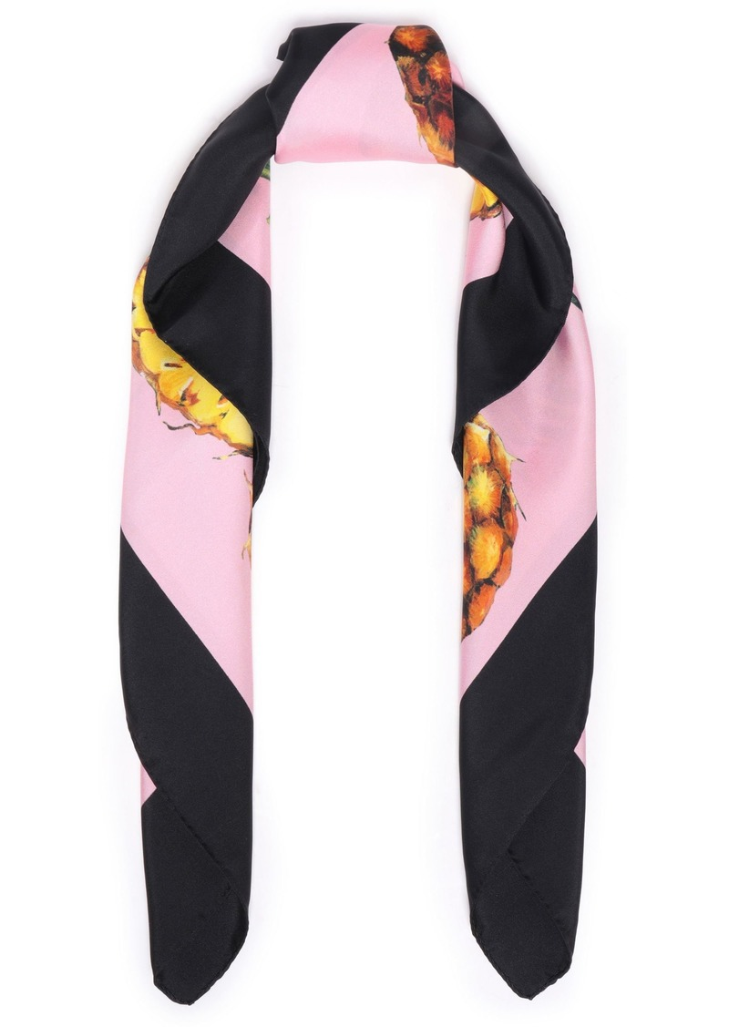 Dolce & Gabbana Woman Printed Silk-twill Scarf Black