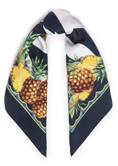 Dolce & Gabbana Woman Printed Silk-satin Twill Scarf Navy