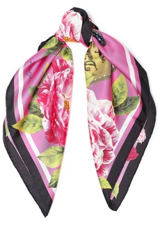 Dolce & Gabbana Woman Printed Silk-twill Scarf Pink