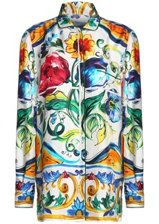 Dolce & Gabbana Woman Printed Silk-twill Shirt Green