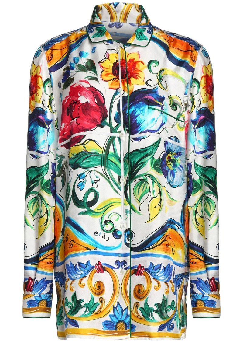 Dolce & Gabbana Woman Printed Silk-twill Shirt Green