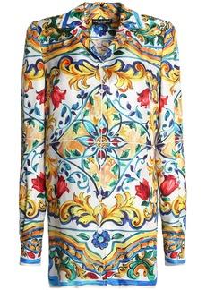 Dolce & Gabbana Woman Printed Silk-twill Shirt Marigold