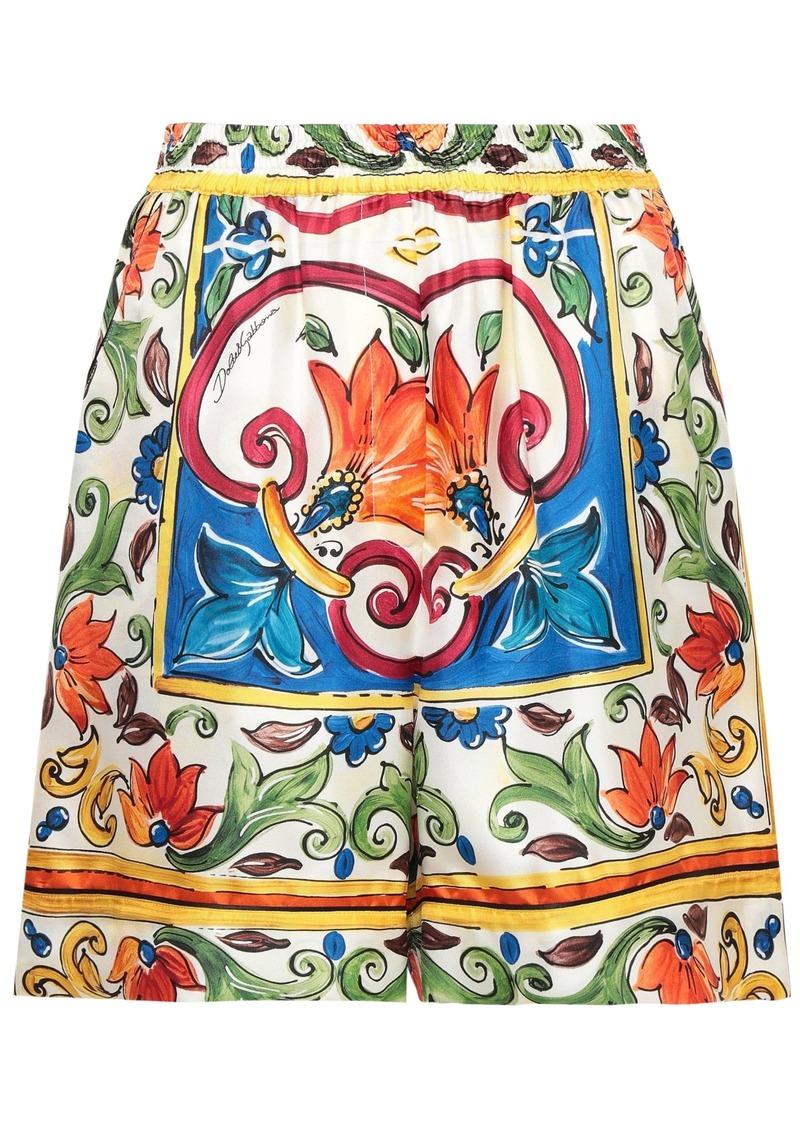 Dolce & Gabbana Woman Printed Silk-twill Shorts Blue