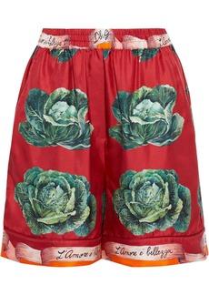Dolce & Gabbana Woman Printed Silk-twill Shorts Crimson