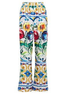 Dolce & Gabbana Woman Printed Silk-twill Wide-leg Pants White
