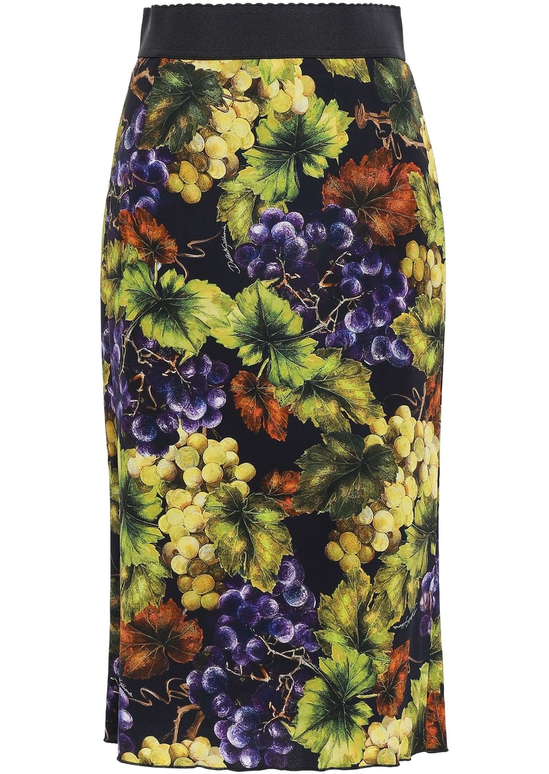 Dolce & Gabbana Woman Printed Stretch-crepe Pencil Skirt Lime Green
