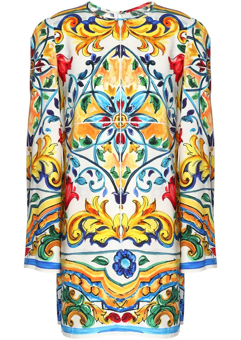 Dolce & Gabbana Woman Printed Stretch-silk Tunic White