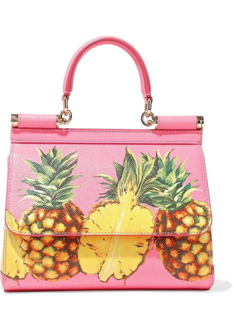 Dolce & Gabbana Woman Printed Textured-leather Shoulder Bag Pink
