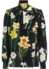 Dolce & Gabbana Woman Pussy-bow Floral-print Silk Crepe De Chine Blouse Black