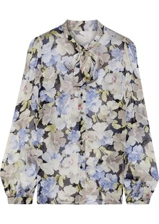 Dolce & Gabbana Woman Pussy-bow Floral-print Silk-georgette Blouse Multicolor