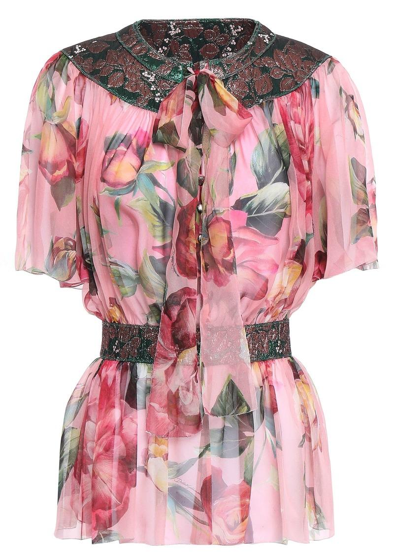 Dolce & Gabbana Woman Pussy-bow Jacquard-paneled Silk-blend Chiffon Peplum Blouse Baby Pink