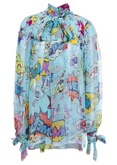 Dolce & Gabbana Woman Pussy-bow Printed Silk-voile Blouse Azure