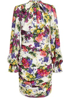 Dolce & Gabbana Woman Pussy-bow Ruched Floral-print Silk-charmeuse Mini Dress Ivory
