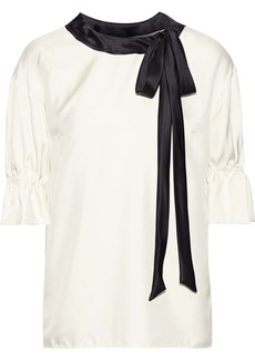 Dolce & Gabbana Woman Pussy-bow Satin-trimmed Silk-twill Top Off-white