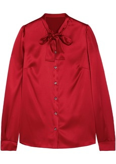 Dolce & Gabbana Woman Pussy-bow Silk-blend Satin Blouse Red