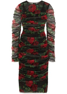 Dolce & Gabbana Woman Ruched Floral-print Cotton-tulle Dress Black