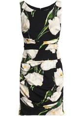 Dolce & Gabbana Woman Ruched Floral-print Stretch-silk Mini Dress Black