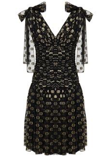 Dolce & Gabbana Woman Ruched Polka-dot Metallic Fil Coupé Silk-blend Dress Black