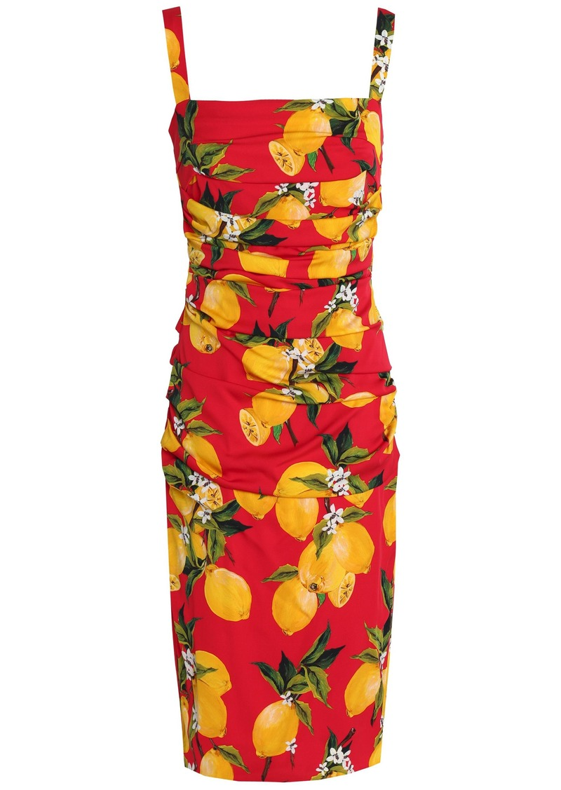 Dolce & Gabbana Woman Ruched Printed Stretch-silk Dress Red