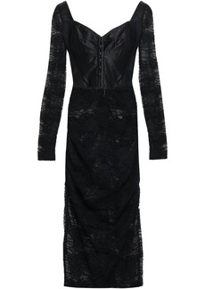 Dolce & Gabbana Woman Ruched Satin-paneled Lace Midi Dress Black