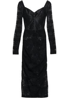 Dolce & Gabbana Woman Ruched Satin-paneled Lace Midi Dress Black