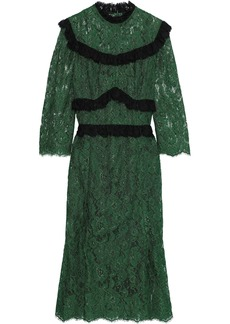 Dolce & Gabbana Woman Ruffle-trimmed Pleated Corded Lace Midi Dress Emerald