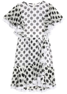 Dolce & Gabbana Woman Ruffle-trimmed Polka-dot Silk-blend Chiffon Mini Dress White
