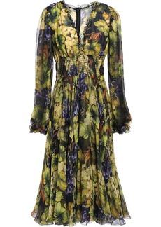 Dolce & Gabbana Woman Ruffle-trimmed Printed Silk-chiffon Dress Lime Green